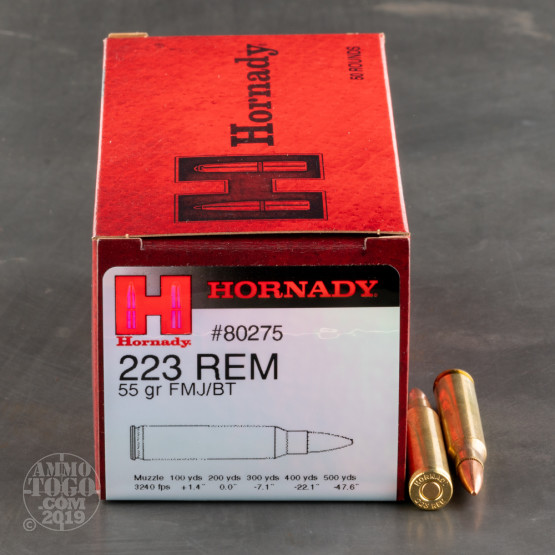 500rds - .223 Hornady Brass Training 55gr. FMJ Ammo