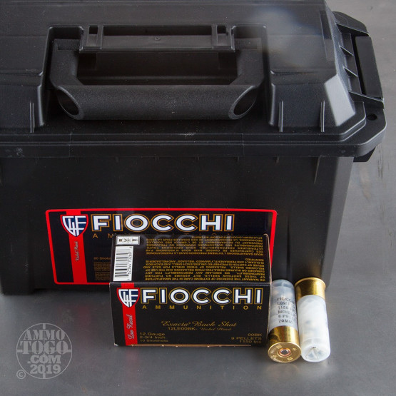 """80rds - 12 Gauge Fiocchi Exacta Low Recoil 2 3/4"""" 9 Pellet #00 Buck in Ammo Can"""