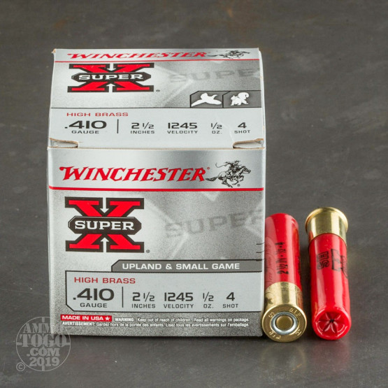 "25rds – 410 Gauge Winchester Super-X High Brass 2-1/2"" 1/2oz. #4 Shot Ammo"