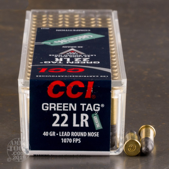 100rds - 22LR CCI Green Tag 40gr. Lead Round Nose Ammo