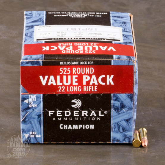 525rds - 22LR Federal Champion 36gr. Copper Plated Hollow Point Ammo