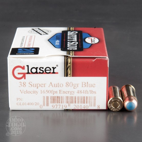 20rds - 38 Super Auto Glaser Blue 80gr. Safety Slug Ammo
