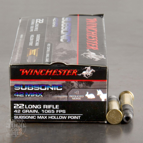 500rds - 22LR Winchester Subsonic 42 Max 42gr  Subsonic HP Ammo