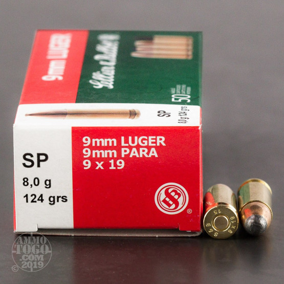50rds - 9mm Sellier & Bellot 124gr Soft Point Ammo