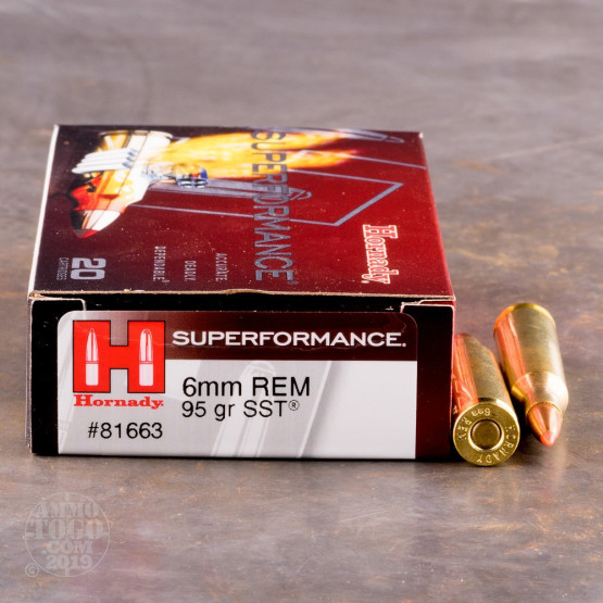 20rds – 6mm Rem Hornady Superformance 95gr. SST Ammo
