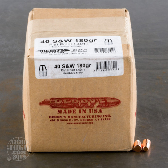 """1000pcs - 40 S&W .401"""" Dia Berry's 180gr. Plated FP Bullets"""