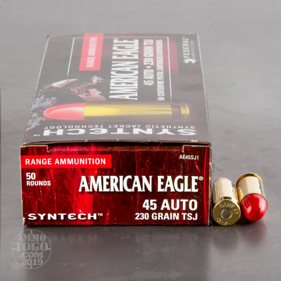 500rds – 45 ACP Federal Syntech 230gr. Total Synthetic Jacket Ammo