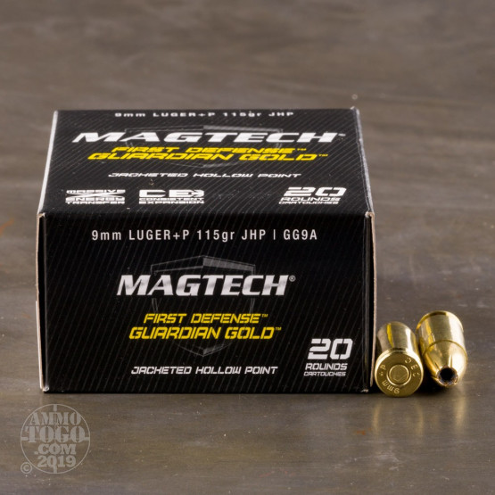 20rds - 9mm MAGTECH Guardian Gold 115gr. +P HP Ammo