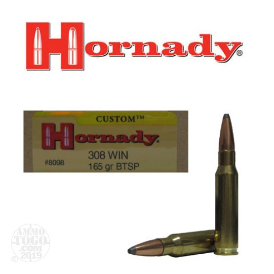 20rds - 308 Win. Hornady 165gr Boattail Soft Point Ammo