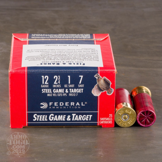"""25rds - 12 Gauge Federal Game and Target 2 3/4"""" 1 Ounce #7 Shot Ammo"""