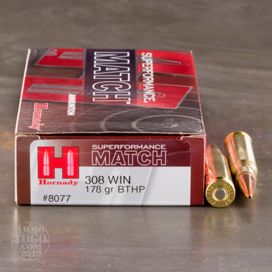 20rds - .308 Hornady Superformance Match 178gr. BTHP AMP Jacket Ammo