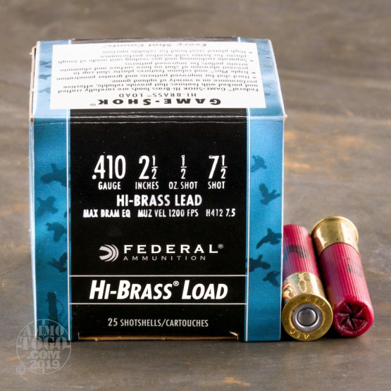 "25rds – 410 Bore Federal Game-Shok Upland Hi-Brass 2-1/2"" 1/2oz. #7.5 Ammo"