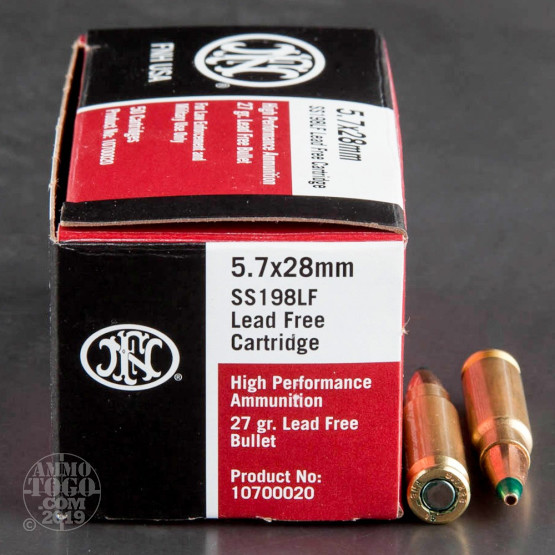 500rds - 5.7x28mm FN SS198LF 27gr. Lead Free Hollow Point Ammo