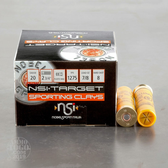 "25rds - 20 Gauge NobelSport Trap Gold 2 3/4"" 7/8oz. #8 Shot Ammo"