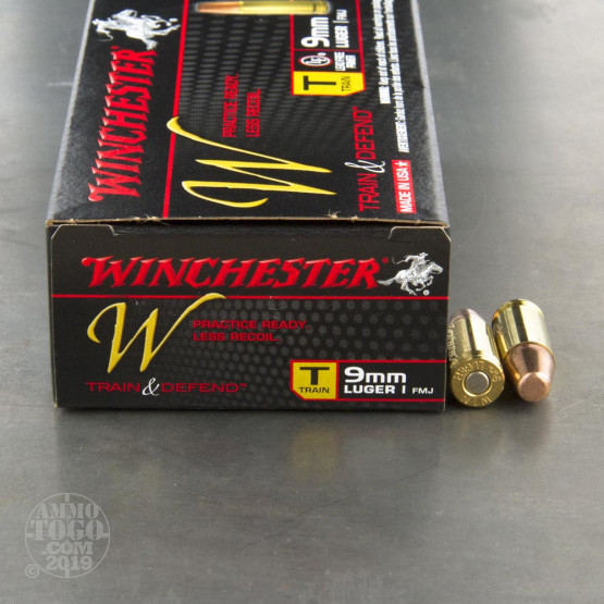 50rds - 9mm Luger Winchester W Train and Defend 147gr. FMJ Ammo