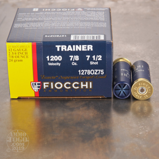 "25rds - 12 Gauge Fiocchi Low Recoil Target 2 3/4""  7/8oz. #7 1/2 Shot"