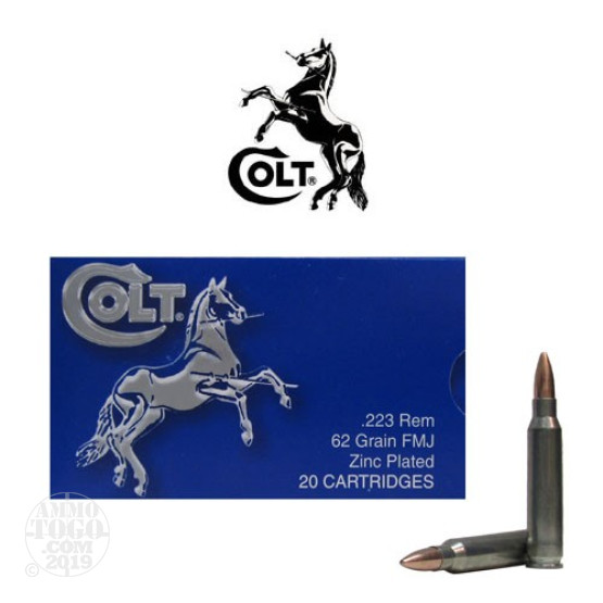 20rds - .223 Colt 62gr. FMJ Zinc Plated Steel Case Ammo