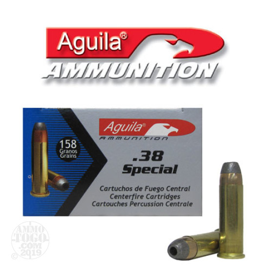 50rds - 38 Special Aguila 158gr. Semi-Jacketed Hollow Point Ammo