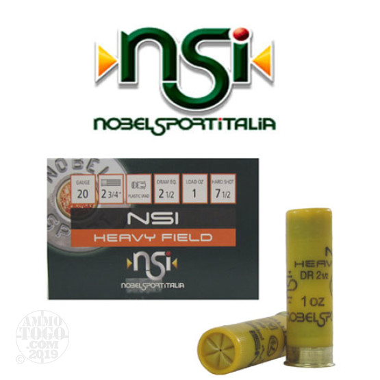 "250rds - 20 Gauge NSI Heavy Field 2 3/4"" 2 1/2 Dram 1oz. #7 1/2 Shot Ammo"