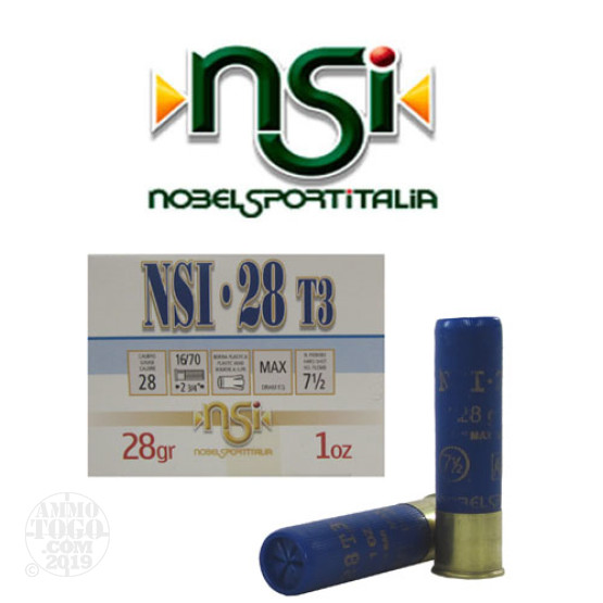 "25rds - 28 Gauge NobelSport Hunting 2 3/4"" Max Dram 1oz. #7 1/2 Shot Ammo"