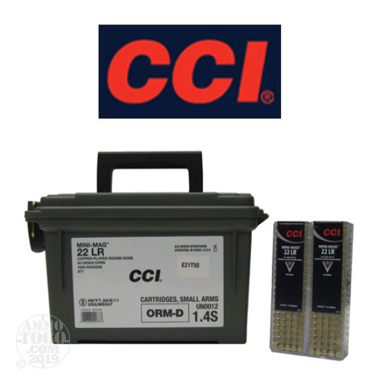 1600rds - 22LR CCI Mini-Mag 40gr. Copper Plated Round Nose Ammo W/ Free Ammo Can