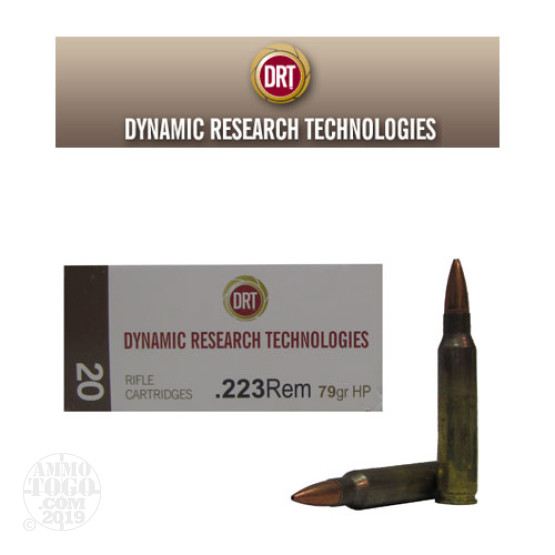 20rds - 223 DRT 79gr. Hollow Point Lead Free Fragmenting Ammo