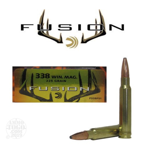 20rds - 338 Win Mag Federal Fusion 225gr. SP Ammo