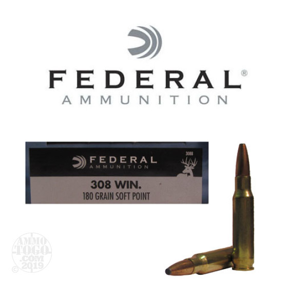 20rds - 308 Win. Federal Power-Shok 180gr. Soft Point Ammo