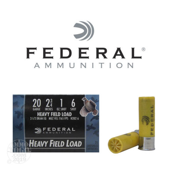 "250rds - 20 Gauge Federal Game Shok 2 3/4"" 1oz. #6 Shot Ammo"