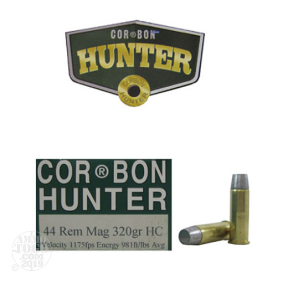 20rds - 44 Mag Corbon Hunter 320gr. Hard Cast Ammo