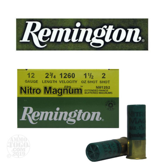 "25rds - 12 Gauge Remington Nitro Magnum 2 3/4"" 1 1/2oz. #2 Shot Ammo"