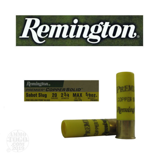 "5rds - 20 Gauge Remington Premier Copper Solid 2 3/4"" Max Dram 5/8oz. Copper Sabot Slug Ammo"
