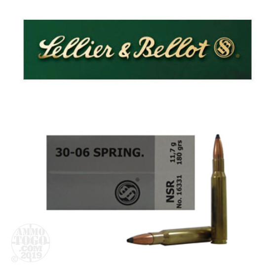 20rds - 30-06 Sellier and Bellot 180gr. Nosler Partition SP Ammo