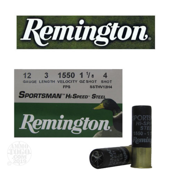 "250rds - 12 Ga. Remington Sportsman Hi-Speed Steel 3"" 1 1/8oz #4 Shot Ammo"