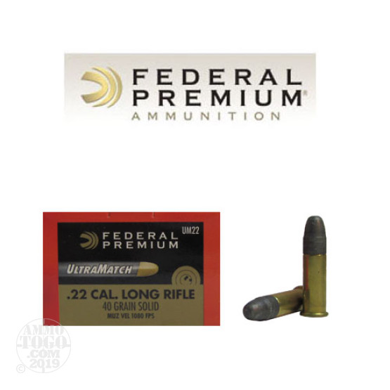 50rds - 22LR Federal Gold Medal UltraMatch 40gr. Solid Point Ammo