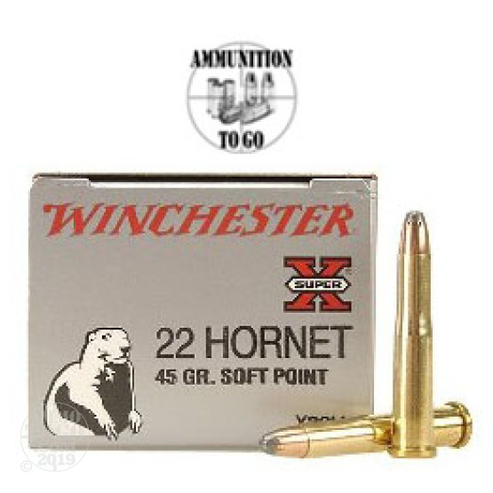 50rds - 22 Hornet Winchester 45gr Super-X Soft Point Ammo