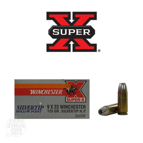 50rds - 9X23 Winchester 125gr. Silvertip Hollow Point Ammo