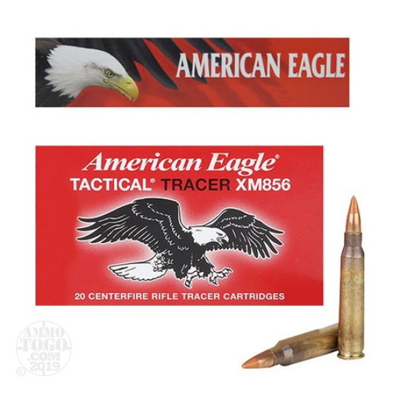 20rds - 5.56 Federal American Eagle 64gr. Tactical Red Tracer Ammo