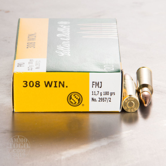 20rds - 308 Sellier & Bellot 180gr. FMJ Ammo