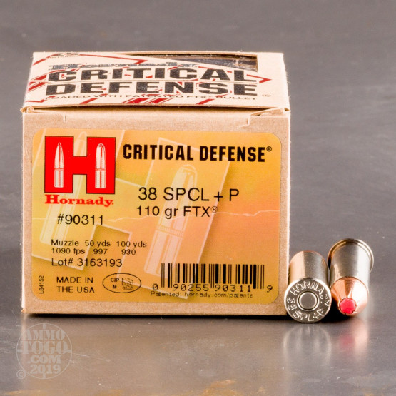 250rds - 38 Special Hornady Critical Defense 110gr.+P FTX HP Ammo