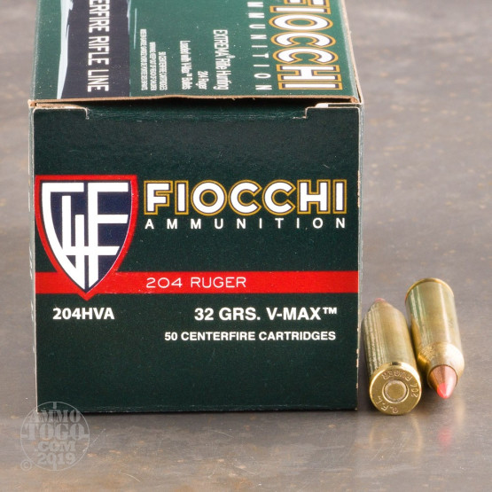 50rds – 204 Ruger Fiocchi 32gr. V-MAX Ammo
