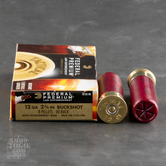 250rds - 12 Ga. Federal LE Tactical Low Recoil 8 Pell. 00 Buck
