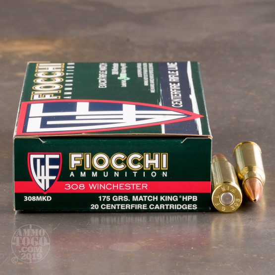 20rds - 308 Fiocchi 175gr. MatchKing HP Ammo