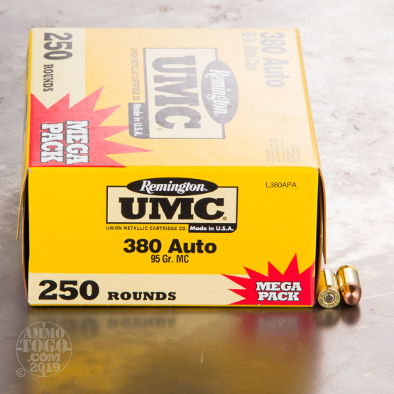 380 Auto 95 gr MC Remington UMC Ammo 250 Round Mega Packs For Sale!