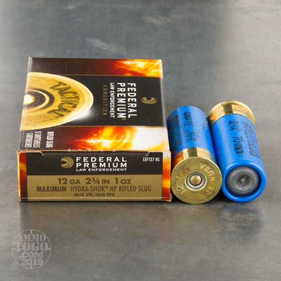 "250rds – 12 Gauge Federal LE Tactical 2 3/4"" 1oz. Hydra-Shok HP Rifled Slug Ammo"