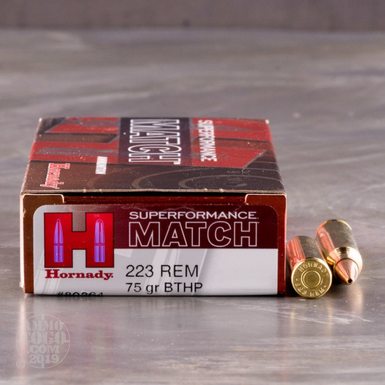 20rds – 223 Rem Hornady Superformance Match 75gr. BTHP Ammo