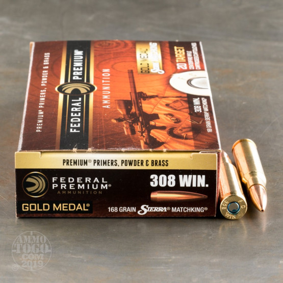 200rds – 308 Win Federal Gold Medal 168gr  MatchKing BTHP Ammo