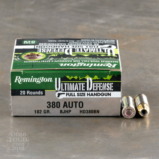 20rds - 380 Auto Remington Ultimate Defense 102gr. BJHP Ammo