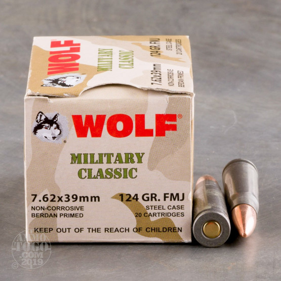 20rds - 7.62x39 WPA Military Classic 124gr. FMJ Ammo