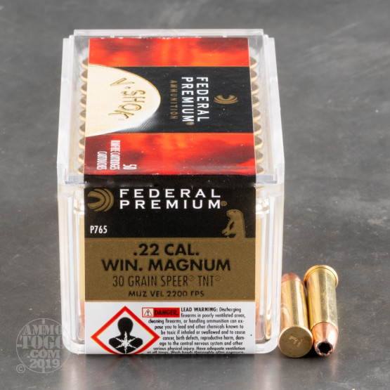 50rds - .22 Mag Federal Premium 30gr. Speer TNT HP Ammo